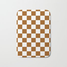 Checkered - White and Brown Bath Mat