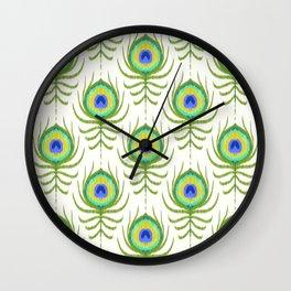 Peacock Feather Ikat Wall Clock