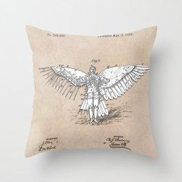 patent art Spalding Flying Machine 2    1889 Throw Pillow