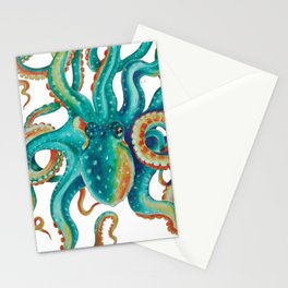 Octopus Tentacles Teal Green Watercolor Art Stationery Cards