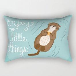 """Enjoy the little things"" Otter Print Rectangular Pillow"