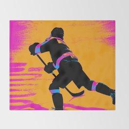 He Shoots! - Hockey Player Throw Blanket