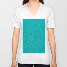 Wear the Teal Ovarian Cancer Awareness Sea Turtle Unisex V-Neck