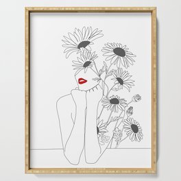 Minimal Line Art Girl with Sunflowers Serving Tray