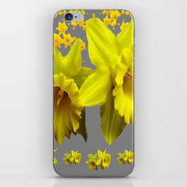 YELLOW DAFFODILS CHARCOAL GREY FLORAL iPhone Skin
