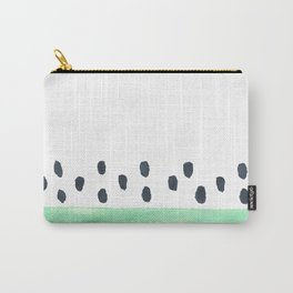 green stripe and black dots pattern Carry-All Pouch