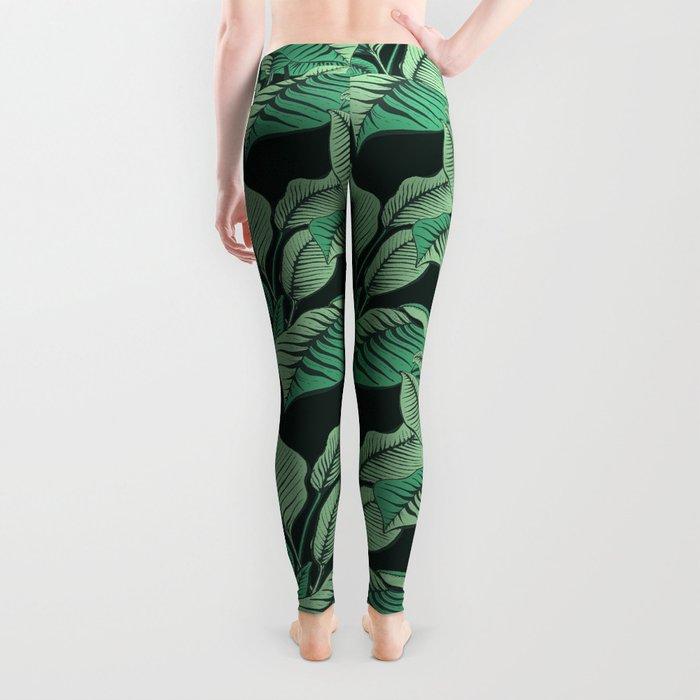 Exotic Tropical Banana Palm Leaf Print Leggings