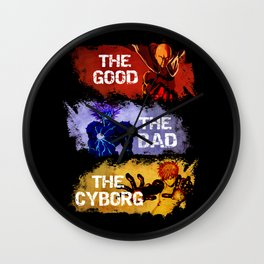 The Good The Bad The Cyborg - One Punch Man Wall Clock