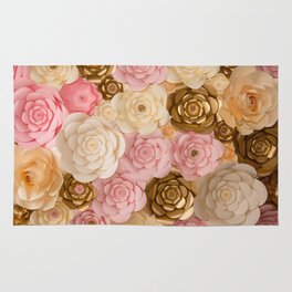 Paper Flowers x Gold Pink Cream Rug