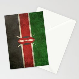 Old and Worn Distressed Vintage Flag of Kenya Stationery Cards