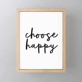 Choose Happy black and white contemporary minimalism typography design home wall decor bedroom Framed Mini Art Print