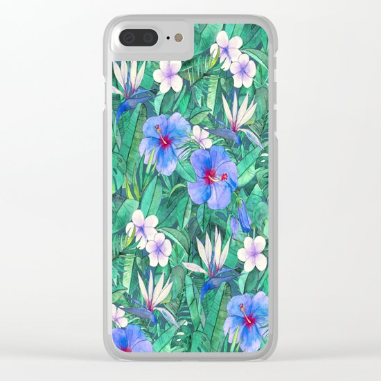 White Bird of Paradise & Blue Hibiscus Tropical Garden Clear iPhone Case