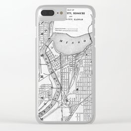 Vintage Map of Kansas City Missouri (1901) BW Clear iPhone Case
