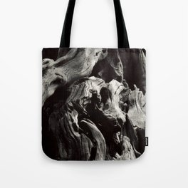 Black and White Tree Bark and Roots Outdoor Nature Photograph Tote Bag