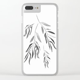 Eucalyptus Branches II Black And White Clear iPhone Case