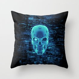 Gamer Skull BLUE TECH / 3D render of cyborg head Throw Pillow