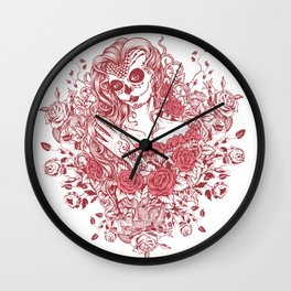 Sexy Woman zombie WITH Flower - Light Coral Wall Clock