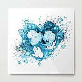 One Heart Watercolor In Blue Metal Print