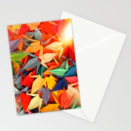 Senbazuru rainbow Stationery Cards