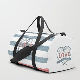 Maritime Design- Love is my anchor on navy blue and red striped background Duffle Bag