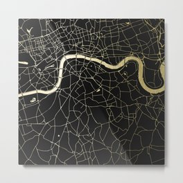 London Black on Gold Street Map Metal Print