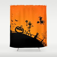 jack skellington Shower Curtains featuring Halloween Jack Skellington  by Raisya