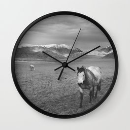 Western Photograph | Rustic Horse and Mountains Wall Clock