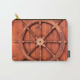 Nautical Ships Helm Wheel on Wooden Wall Carry-All Pouch