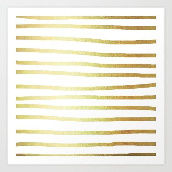 Simply Drawn Stripes 24k Gold Art Print