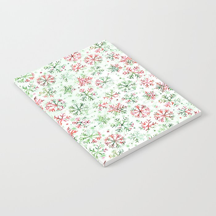 Red Green Snowflakes Notebook