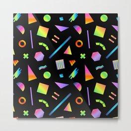 Neon Gradient Postmodern Shapes Metal Print