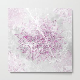 Modern abstract pink watercolor mandala marble pattern Metal Print