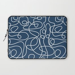 Doodle Line Art | White Lines on Petrol Blue Laptop Sleeve