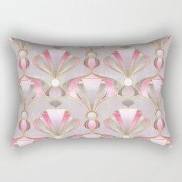 Rose Pink, Grey and Gold Art Deco Rectangular Pillow
