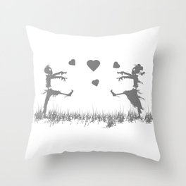 Zombies in Love Gray Throw Pillow