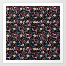 Pretty Pink & Yellow Small Floral Black Design Art Print