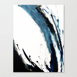 Reykjavik: a pretty and minimal mixed media piece in black, white, and blue Canvas Print
