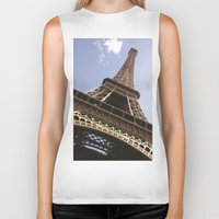 eiffel tower Biker Tanks featuring Eiffel Tower by caroline