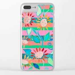 zakiaz flower stripe Clear iPhone Case
