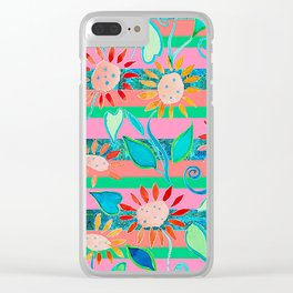zakiaz flower stripe Clear iPhone Case