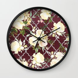 Country chic burgundy white quatrefoil watercolor floral Wall Clock