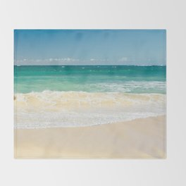 beach blue Throw Blanket