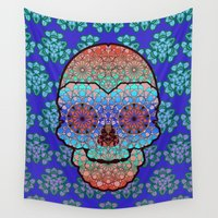 sugar skull Wall Tapestries featuring Sugar Skull by Dusty Goods