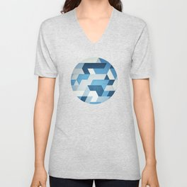 Abstract geometric triangle pattern (futuristic future symmetry) in ice blue Unisex V-Neck