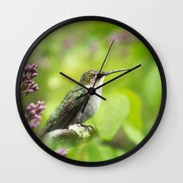 Hummingbird with Lilacs Wall Clock