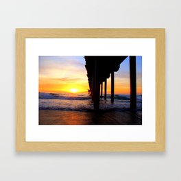 Scripps Pier - Sunset Surfing Framed Art Print