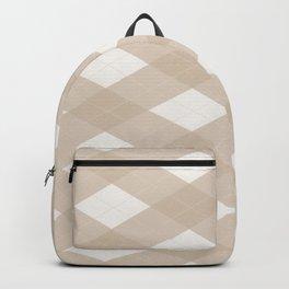 Pantone Hazelnut, Tan Argyle Plaid, Diamond Pattern Backpack