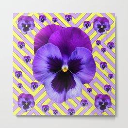 PURPLE PANSY  FLOWERS & YELLOW PATTERNS  GARDEN Metal Print