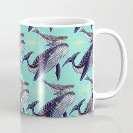 Mum and baby whale in blue ocean Coffee Mug
