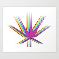 "cannabis Art Prints featuring Rainbow Cannabis by ""LSC"""